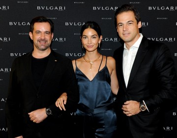 International Communication Director at Bulgari Stephane Gerschel, model Lily Aldridge, and President, North America at Bulgari Daniel Paltridge attend the Bulgari International  in New York City.  (Photo by Craig Barritt/Getty Images for Bulgari)